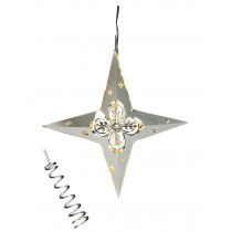 Top- & Hanging Star with Flowers & LED lights, Silver
