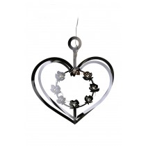 Silver Heart with Flowers & LED lights, large