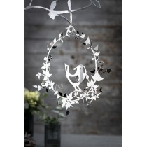 Bird with Flower Wreath in Silver, small